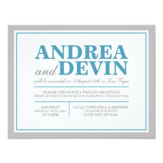 Gray & Blue Wedding Reception ONLY Invitations