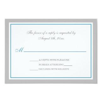 "Gray & Blue Wedding Reception RSVP Cards 3.5"" X 5"" Invitation Card"