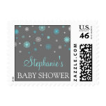 Gray Blue Winter Custom Baby Shower Stamps