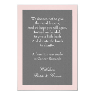 Gray & Blush Pink Wedding Donation Note Card