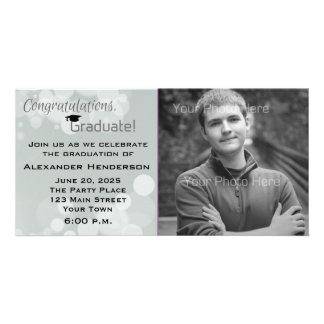 Gray Bokeh Graduation Photo Photo Card