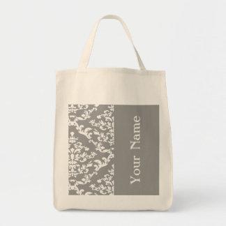 Gray Bold Damask w/ name @ Emporiomoffa Tote Bag