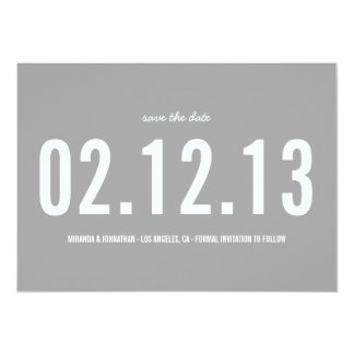 "Gray Bold Photo Save The Date Announcements 5"" X 7"" Invitation Card"