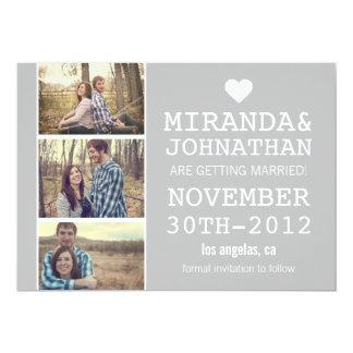 Gray Bold Photo Strip Save The Date Invites