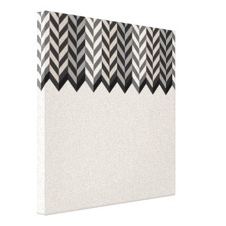 Gray Bordered Herringbone Stripes Pattern Canvas Print