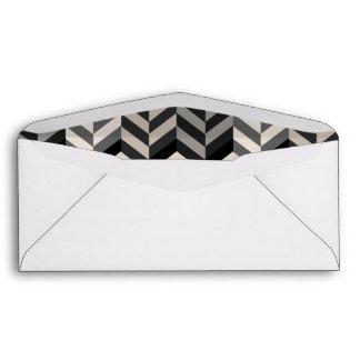 Gray Bordered Herringbone Stripes Pattern Envelope