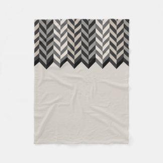 Gray Bordered Herringbone Stripes Pattern Fleece Blanket