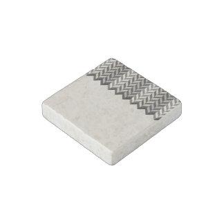 Gray Bordered Herringbone Stripes Pattern Stone Magnet