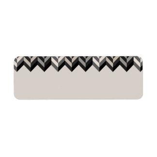 Gray Bordered Herringbone Stripes Pattern Label