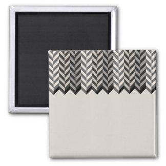 Gray Bordered Herringbone Stripes Pattern Magnet