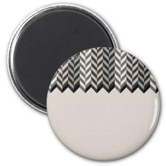 Gray Bordered Herringbone Stripes Pattern 2 Inch Round Magnet