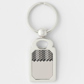Gray Bordered Herringbone Stripes Pattern Silver-Colored Rectangular Metal Keychain