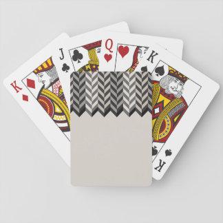 Gray Bordered Herringbone Stripes Pattern Playing Cards