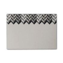 Gray Bordered Herringbone Stripes Pattern Post-it Notes