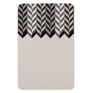 Gray Bordered Herringbone Stripes Pattern Rectangular Magnets