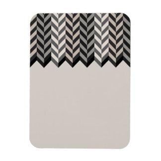 Gray Bordered Herringbone Stripes Pattern Rectangular Photo Magnet