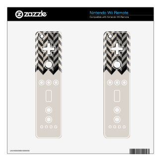 Gray Bordered Herringbone Stripes Pattern Wii Remote Decals