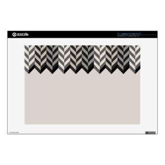 Gray Bordered Herringbone Stripes Pattern Laptop Decals