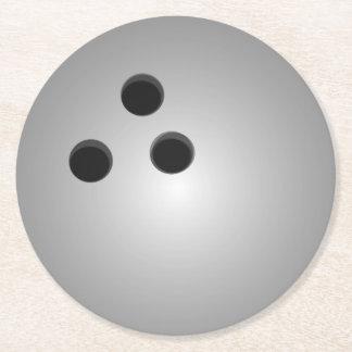 Gray Bowling Ball Round Paper Coaster
