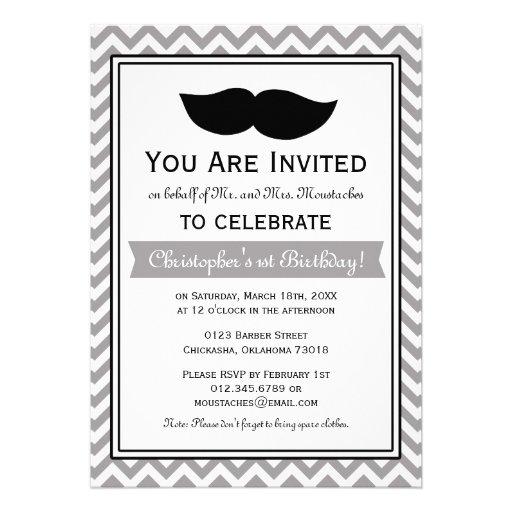 Personalized Mustache birthday Invitations CustomInvitations4Ucom