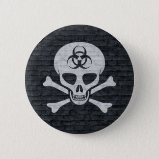 Gray Brick Biohazard Skull and Crossbones Button