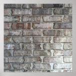 Gray Brick Wall Grunge Bricks Background Texture Poster