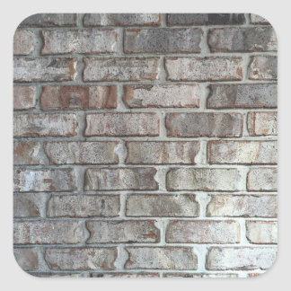 Gray Brick Wall Grunge Bricks Background Texture Square Sticker