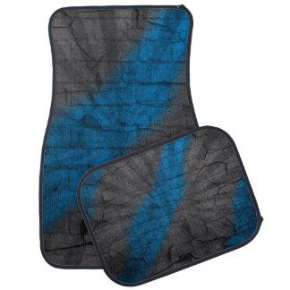 Gray & Bright Blue Faux Crackle Car Mats