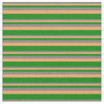[ Thumbnail: Gray, Brown, and Green Colored Stripes Fabric ]