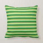 [ Thumbnail: Gray, Brown, Chartreuse, Mint Cream & Green Pillow ]
