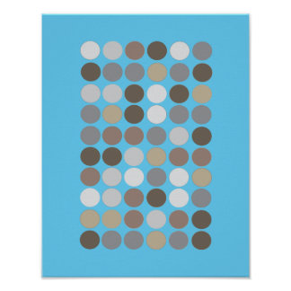 Gray & Brown Circles Blue Modern Pattern Abstract Poster