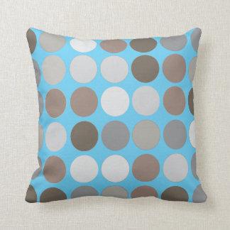Gray Brown Circles w/Blue Modern Abstract Pattern Pillows