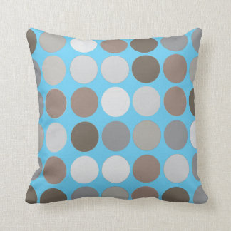 Gray Brown Circles w/Blue Modern Abstract Pattern Throw Pillow