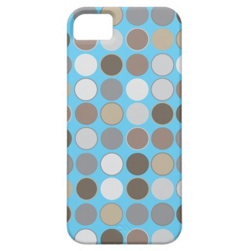 Gray & Brown Circles w/Blue Modern Pattern iPhone 5 Covers