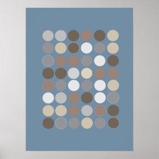 Gray & Brown Circles w/Slate Blue Pattern Modern Poster