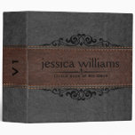 Gray & Brown Leather Black Decorative Element 3 Ring Binder at Zazzle