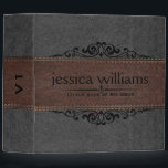 """Gray &amp; Brown Leather Black Decorative Element 3 Ring Binder<br><div class=""""desc"""">Elegant image of dark gray and brown vintage leather stretched accent with black decorative floral element. This design is very flexible design where you can position decorative elements and make your product truly one of a kind.</div>"""