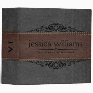 Gray & Brown Leather Black Decorative Element 3 Ring Binder