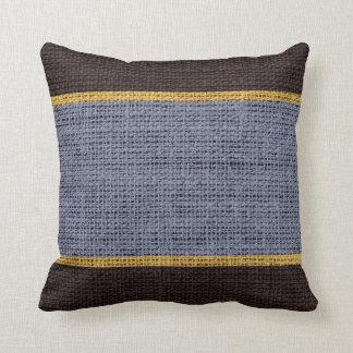 Gray & Brown Rustic Burlap Jute Background Throw Pillow