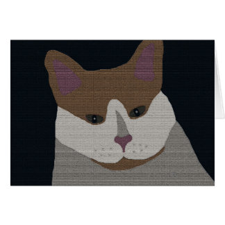 Gray, brown, white cat card