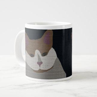Gray, brown, white cat large coffee mug