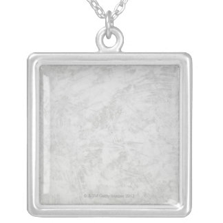 Gray Brush Strokes Silver Plated Necklace