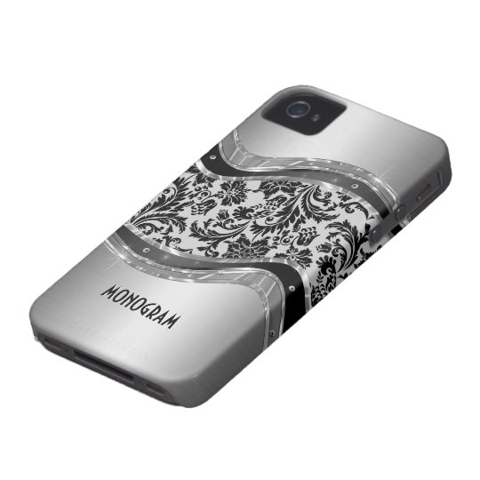 Gray Brushed Aluminum Look & DamasksPattern iPhone 4 Case-Mate Case