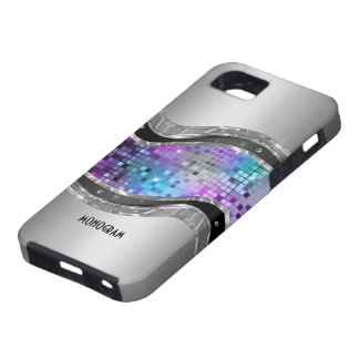 Gray Brushed Aluminum Look & Disco-Ball Pattern iPhone SE/5/5s Case