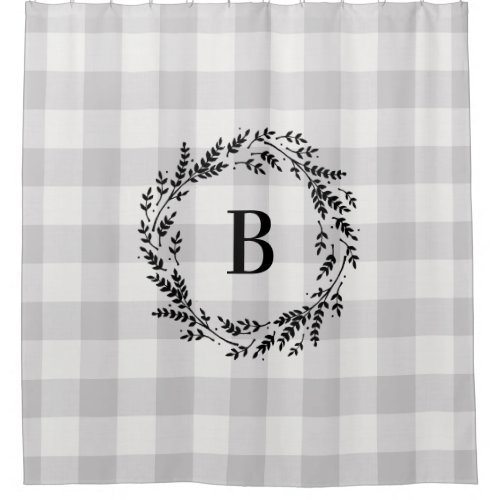 Gray Buffalo Check Monogram | Farmhouse Bathroom Shower Curtain