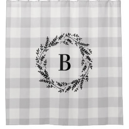 Gray Buffalo Check Monogram | Farmhouse Bathroom Shower Curtain