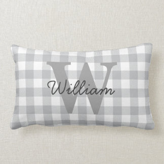 Gray Buffalo Plaid Checkered Pattern Lumbar Pillow