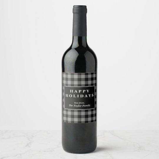 Gray Buffalo Plaid Pattern Christmas Gift Wine Label | Zazzle.com