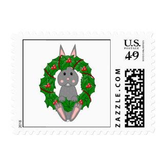 Gray Bunny And Christmas Wreath Postage Stamps