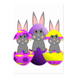 Gray Bunny Easter Eggs Business Cards